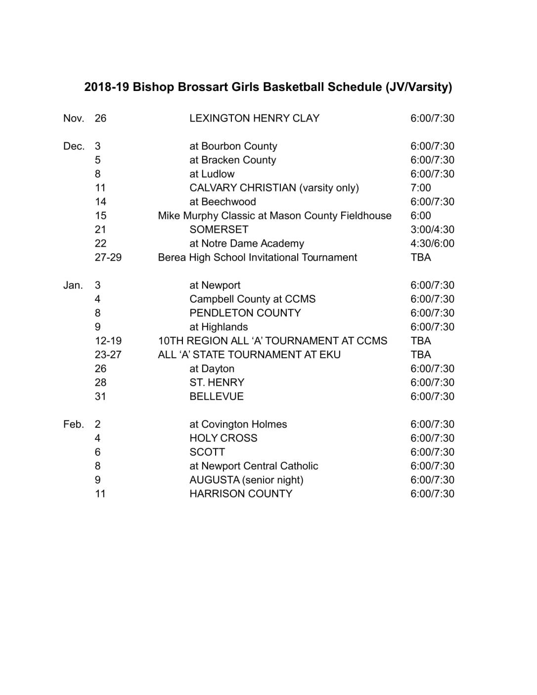2019 Bishop Brossart Girls Basketball Schedule VarJV-1